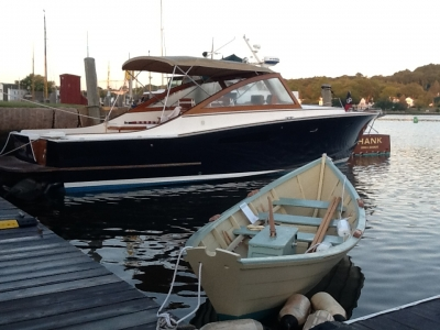 Shown here at the 2015 WoodenBoat Show, Mystic Seaport with our 38' Custom Express cold-molded Cruiser.