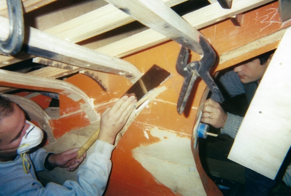 With frames installed and using a batten over the frames; the rabbets can now be carved.