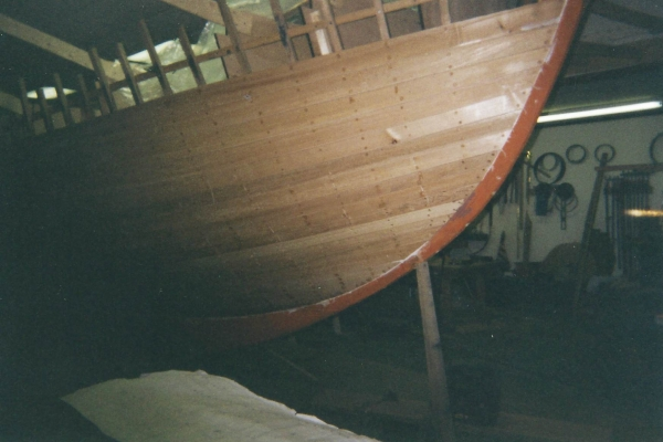 """Her 1"""" cedar planking was fastened with #14 x 1-3/4"""" silicon bronze wood screws."""