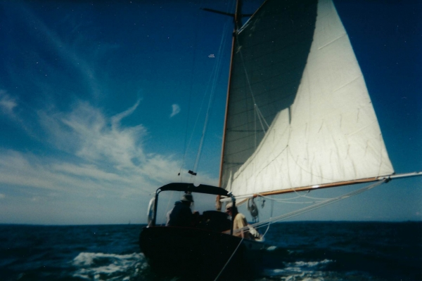 """Katy leaves Cotuit habor """"before the wind""""…likely headed to one of the islands."""