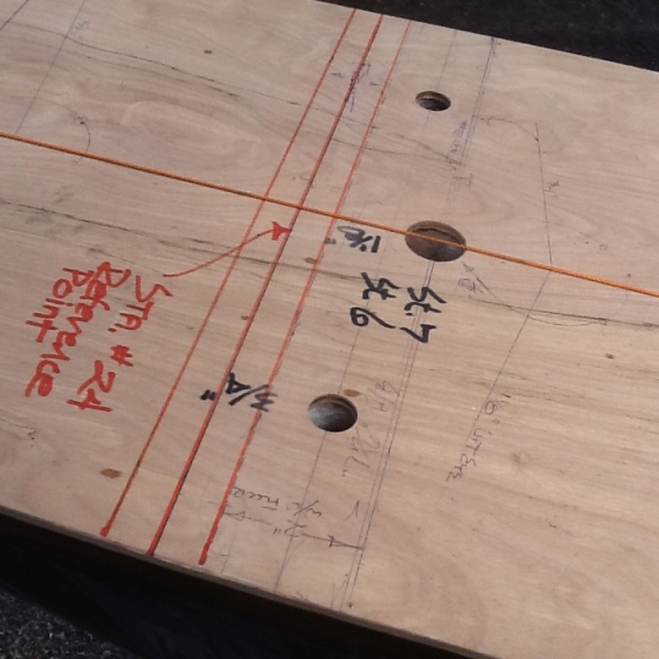 """Patterning the original keel's bolt pattern. The 6-18"""" long bronze bolts were in near perfect shape."""