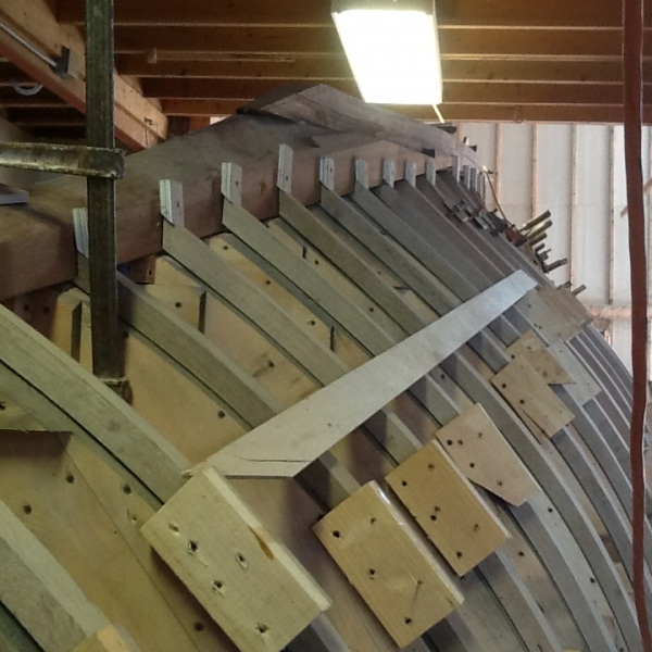 Hull construction at Brion Rieff ' s shop in Maine.