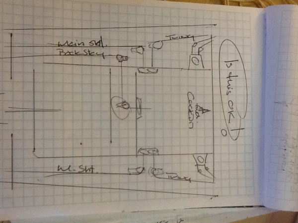 Bob's engineering sketches as to line and hardware locations. Never enough room!